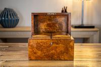 Burr Walnut Tea Caddy with Canisters 1880 (3 of 9)