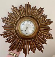 Stylish Art Deco Carved Giltwood Starburst Clock c.1930 (8 of 8)