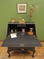 Vintage 1930s Black Writing Bureau Desk with Presentation Plaque, Lockable (19 of 22)