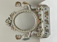 Pair of Small Dresden Victorian Style Porcelain Cherub Table Mirrors (8 of 60)