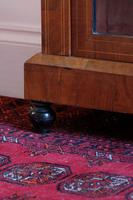 Victorian inlaid walnut pier cabinet on turned supports and original glass framed door (5 of 13)