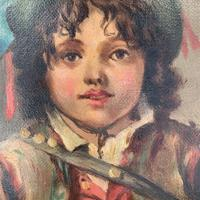Antique Victorian oil painting portrait of young boy in hat signed JW Roberts 1887 (8 of 10)