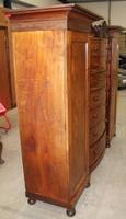 1900s Large Mahogany Bow Front Wardrobe with Drawers (4 of 4)
