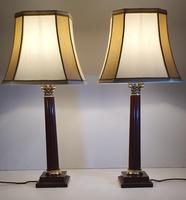 Pair of 20th Century Marble & Brass Corinthian Table Lamps (2 of 5)