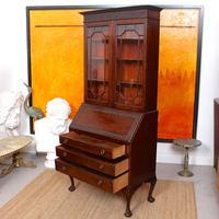 Secretaire Bureau Bookcase Astragal Glazed Mahogany Library Cabinet Edwardian (6 of 14)