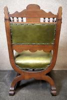 Late Victorian Carved Oak & Leather Armchair (9 of 14)