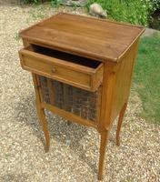 Antique French Fruitwood Bedside Cabinet Leather Book Fronts (3 of 8)