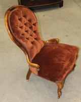 1910s Mahogany Mummy Armchair in Rust Upholstery (2 of 3)