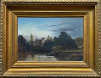 Lovely Original Mid 19th Century Antique British Castle River Landscape Oil Painting
