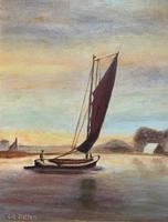 Contemporary, British School - Sailing on the Estuary - Seascape Oil Painting (9 of 11)