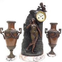 Art Nouveau Figural Mantel Clock Set 8 Day (4 of 11)
