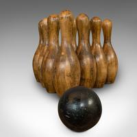 Set Of Antique Skittles, English, Beech, 10 Pins, Ball, Case, Victorian c.1900 (2 of 10)