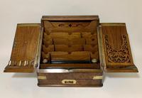 Victorian Burr Walnut Brass Bound Desktop Stationery Cabinet (2 of 15)