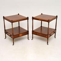 Pair of Antique Georgian Style Yew Wood Side Tables (10 of 14)