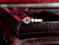 Vintage Diamond Solitaire Ring, Hearts, 9ct Gold (9 of 10)