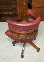 Antique Design Mahogany Red Leather Captains Chair (4 of 5)