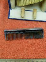 Antique Sterling Silver Hallmarked Cased Faux Tortoise Shell Brush & Comb Set with Mirror 1926 (7 of 12)