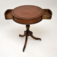 Antique  Regency Style  Mahogany Leather Top Drum Table (4 of 6)