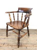 Antique 19th Century Ash & Elm Smokers Bow Chair (12 of 12)