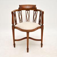 Antique Edwardian  Inlaid Mahogany Corner Chair (11 of 11)
