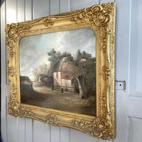Antique Large Victorian Landscape Oil Painting of a Farm Signed J Howard (8 of 10)