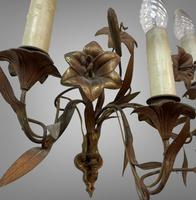 Vintage French Set of Three Wall Lights Sconces Rustic Gilt Bronze Lilies (5 of 10)