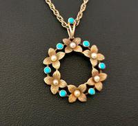 Antique Art Nouveau 15ct Gold Floral Pendant, Pearl & Turquoise, 9ct Gold Necklace (11 of 12)