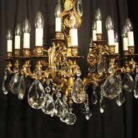 Italian Pair Bronze 20 Light Antique Chandeliers (7 of 10)