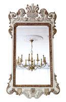 Large Ovemantle Wall Mirror White & Gilt Frame
