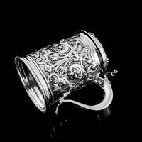 Antique Solid Sterling Silver Large Tankard with Royal Marines Officer Interest - Goldsmiths & Silversmiths Co 1900 (20 of 28)