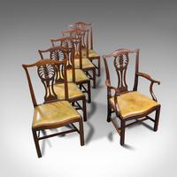 Antique, Set of 6, Dining Chairs, English, Mahogany, Leather, Seats, Victorian (11 of 12)