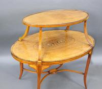 Elegant Inlaid Satinwood Étagère Two Tier Table c.1890 (4 of 6)