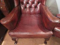 Superb Antique Leather Buttoned Wing Armchair (3 of 8)
