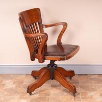 Good Quality Oak Revolving Office Desk Chair (7 of 14)