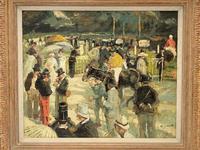 Circle of Julien Dumont - Oil on Board - 'Longchamp Races, Paris' (2 of 3)