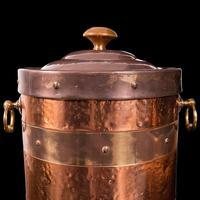 Antique Fireside Bin, English, Copper, Brass, Decorative, Scuttle, Edwardian (10 of 12)