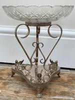19th Century Victorian Silver Plate Sphinx Cut Glass Epergne Centrepiece Stand (4 of 28)