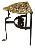 19th Century cast brass and wrought iron fireside trivet (4 of 5)