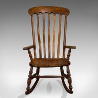 Antique Farmhouse Rocking Chair, English, Elm, Beech, Seat, Victorian c.1900 (2 of 12)