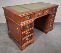 Reproduction Carved Mahogany Kneehole Pedestal Desk (4 of 11)