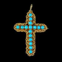 Antique Victorian Turquoise Cannetille Cross Pendant Brooch 18ct Gold c.1860 (4 of 5)