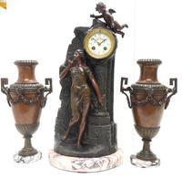 Art Nouveau Figural Mantel Clock Set 8 Day (5 of 11)