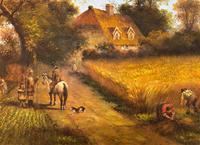 Original Victorian Harvest Countryside Landscape Oil Painting (6 of 10)