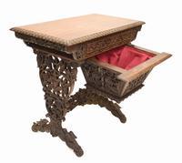 Antique Burmese Work Box - Desk Writing Table 1890 Hardwood (8 of 13)