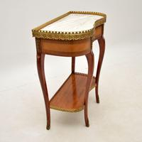 Antique French Marble Top Kidney Side Table (3 of 11)