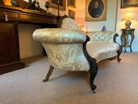 Stunning Quality Original 19th Century Carved Rosewood Cream Upholstered Sofa Settee (2 of 11)