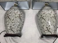 Pair Chinese Cantonese Porcelain Table Lamps With Shades Lighting Christmas Gift (3 of 51)