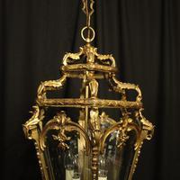 French 19th Century Gilt Bronze Antique Hall Lantern (9 of 10)