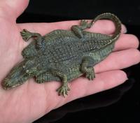 Antique bronze Alligator skin rug, Franz Bergman (5 of 13)
