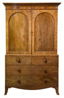 19th Century Mahogany Linen Press with Shelves & Drawers (2 of 6)